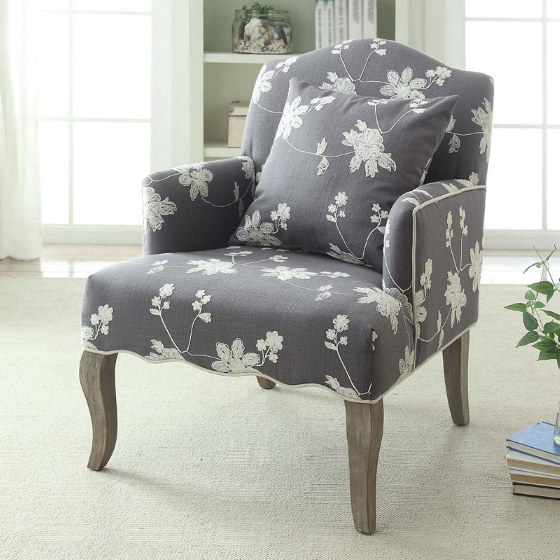 Linon Floral Arm Chair 368312gry01u Living Room Chairs