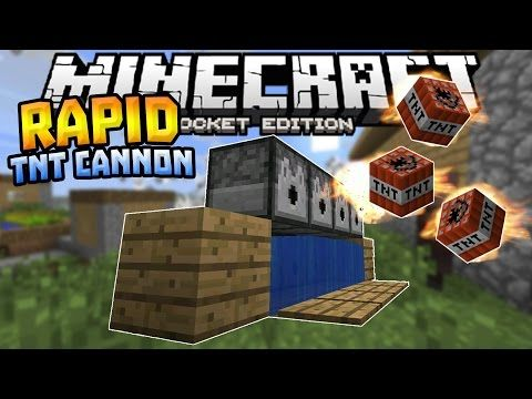 RAPID FIRE TNT CANNON in MCPE!!! - 0 15 6 Redstone Creation