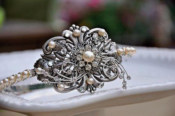 Bridal Victorian Head Piece Swarovski Crystal by cynthiacouture, $139.00