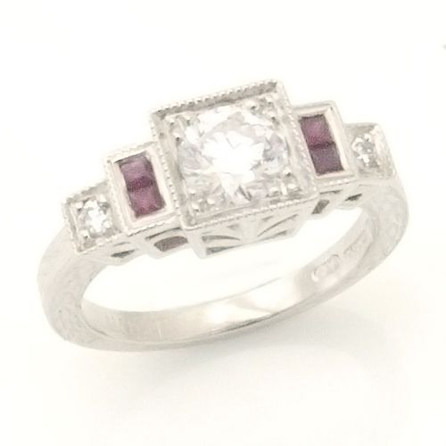 Art Deco Diamond And Ruby Engagement Ring Deco