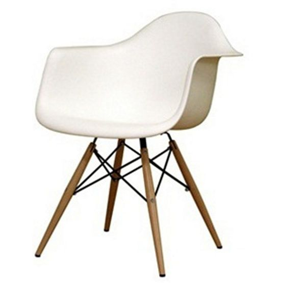 Wood Leg White Bucket Seat Dining Arm Chair
