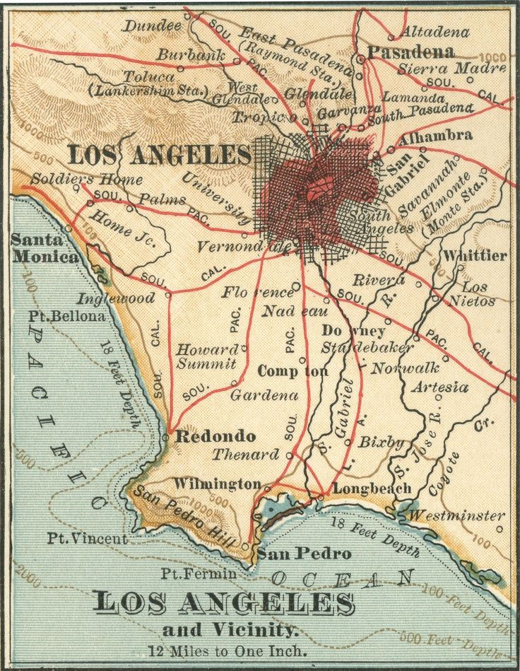 Los Angeles in 1900 | Maps in 2019 | Los Angeles, California, Map