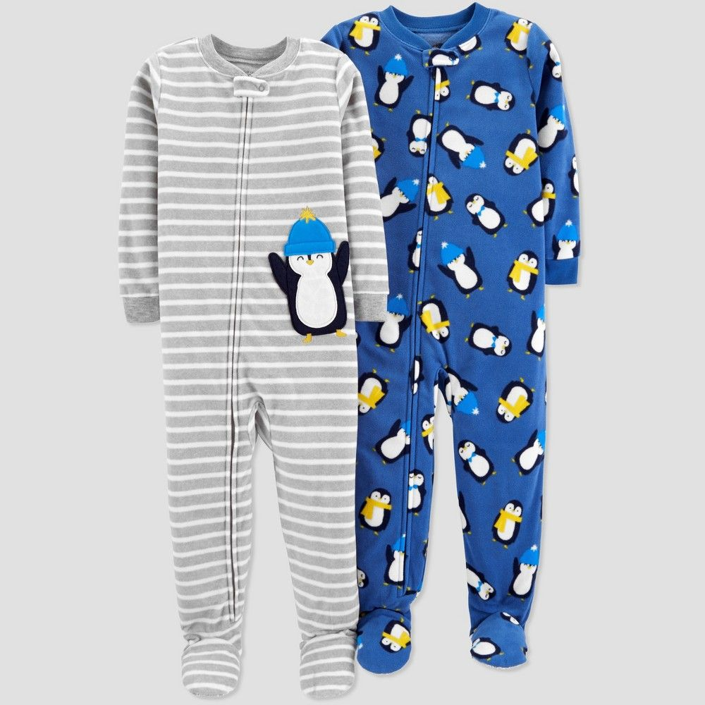 71d9ddb485 Toddler Boys  Fleece Stripe Penguin Pajama Set - Just One You made by  carter s Gray 4T