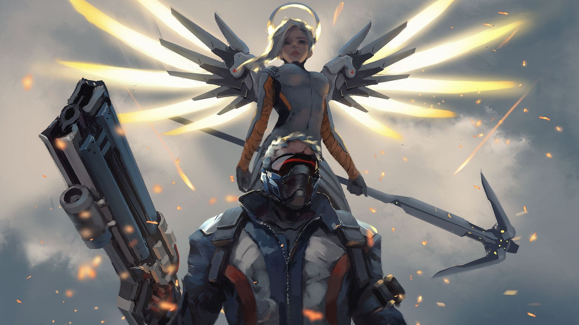 Mercy And Soldier76 Overwatch 1920x1080 Wallpaper
