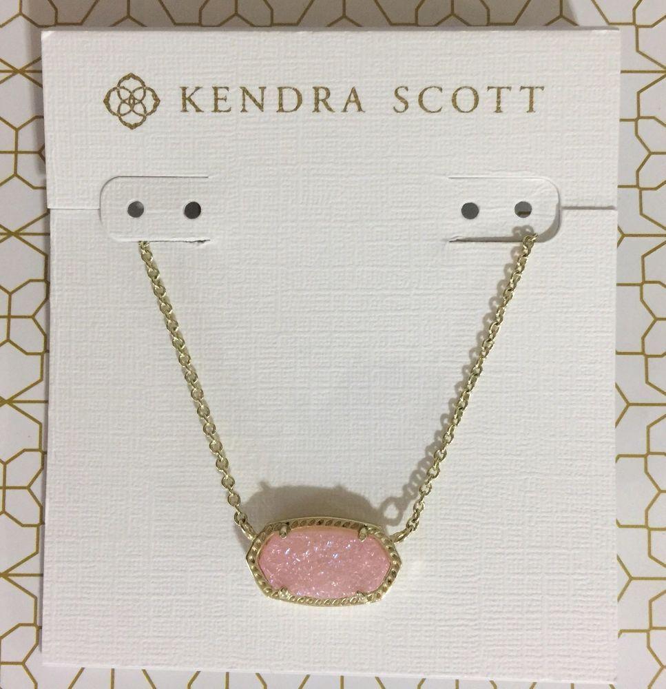 Kendra Scott Gold Elisa Pendant Necklace In Pink Drusy Ebay Kendra Scott Necklace Pendant Necklace