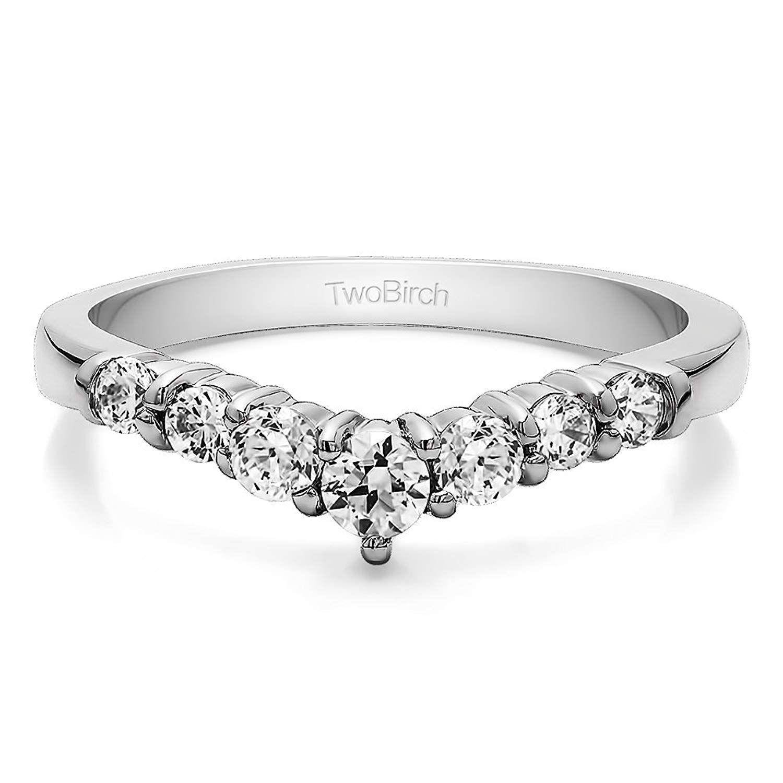 Cubic Zirconia Chevron Wedding Ring In Sterling Silver(0