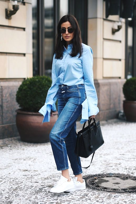 ac5198fb69 Le Fashion Blog Blogger Style Sunglasses Blue Button Down Shirt With Long  Sleeve Detail High Waisted