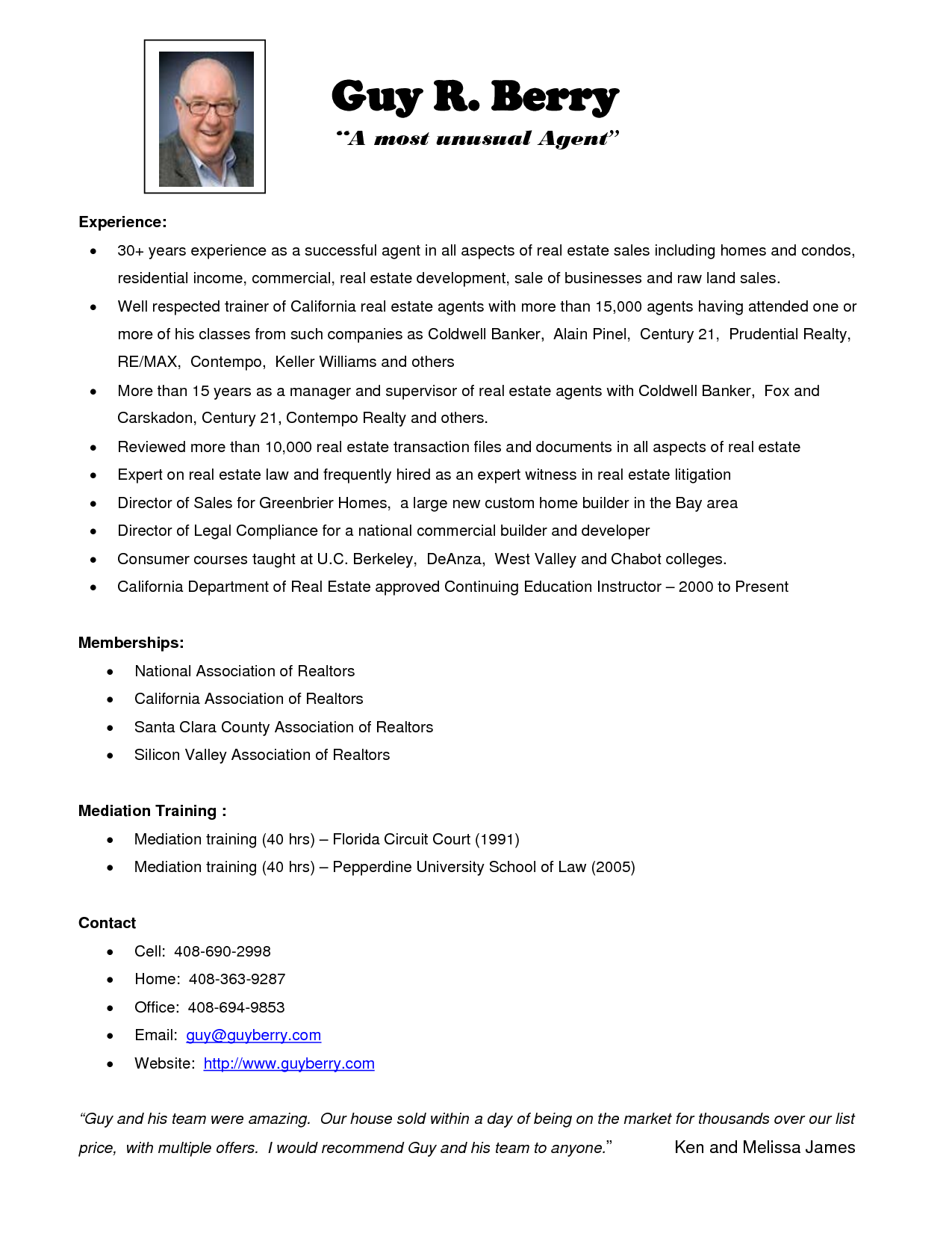 The Real Estate Resume Exles Tips Writing Sle