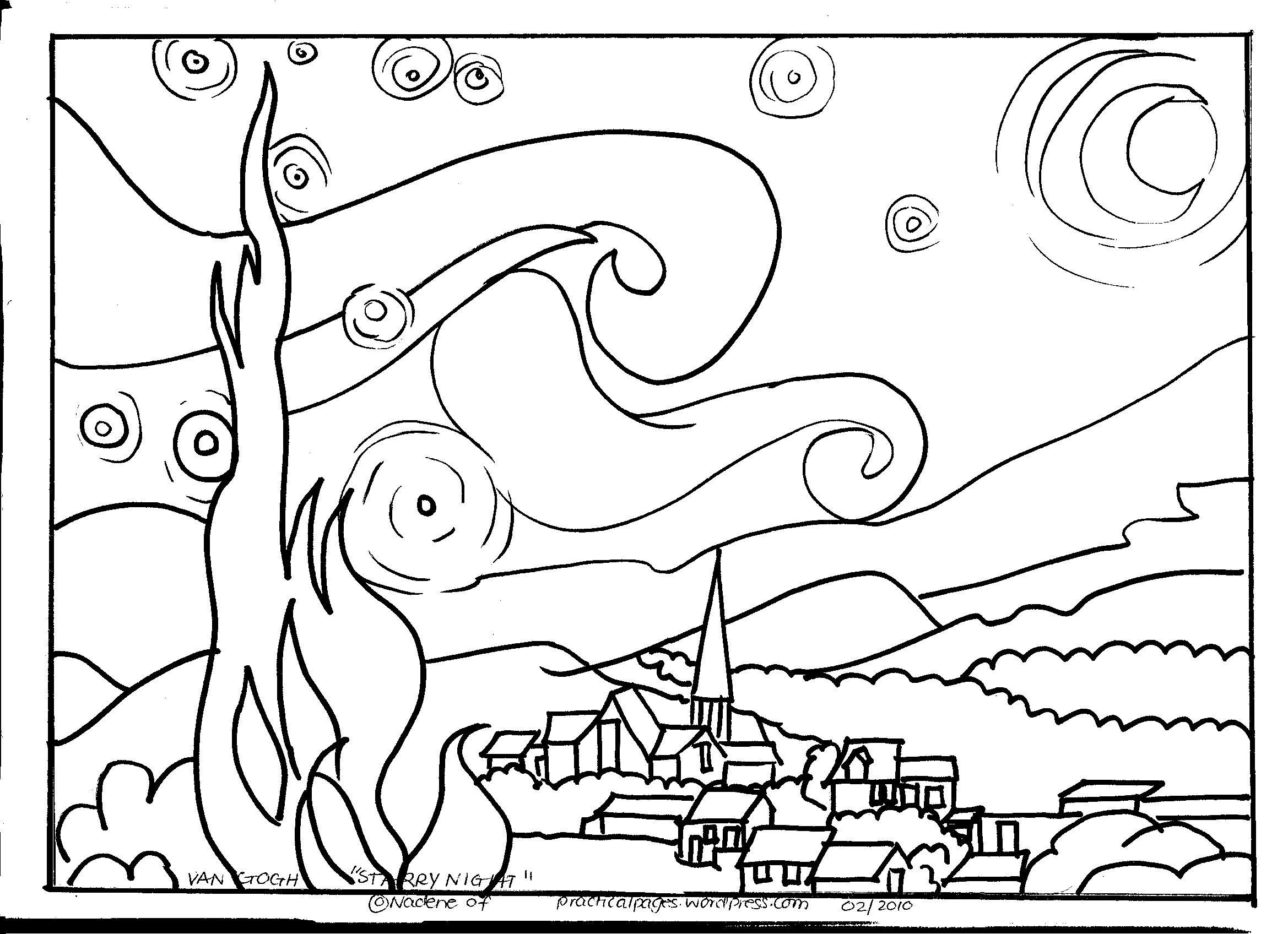 Starry Night Coloring Page Homeschool Art Art For Kids Art Lessons