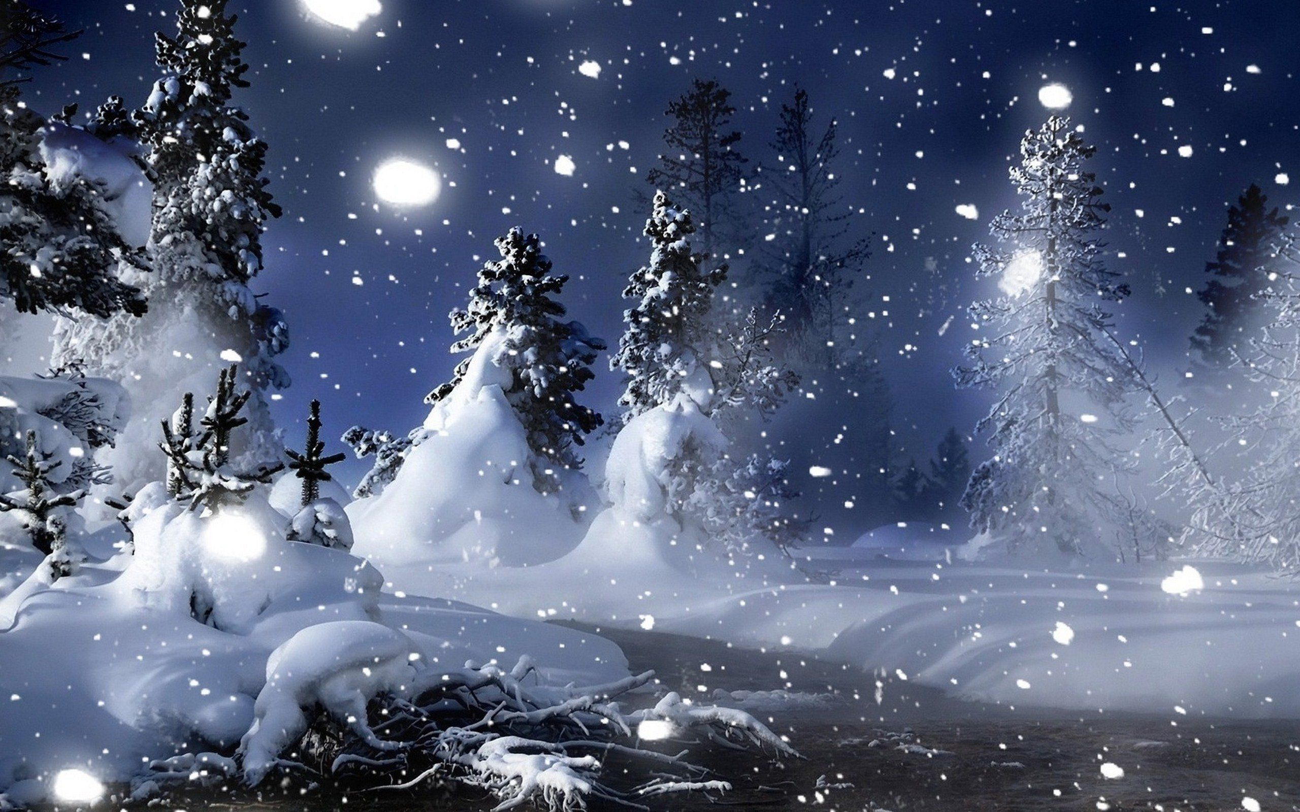 Warm candle in a cold winter night HD wallpaper