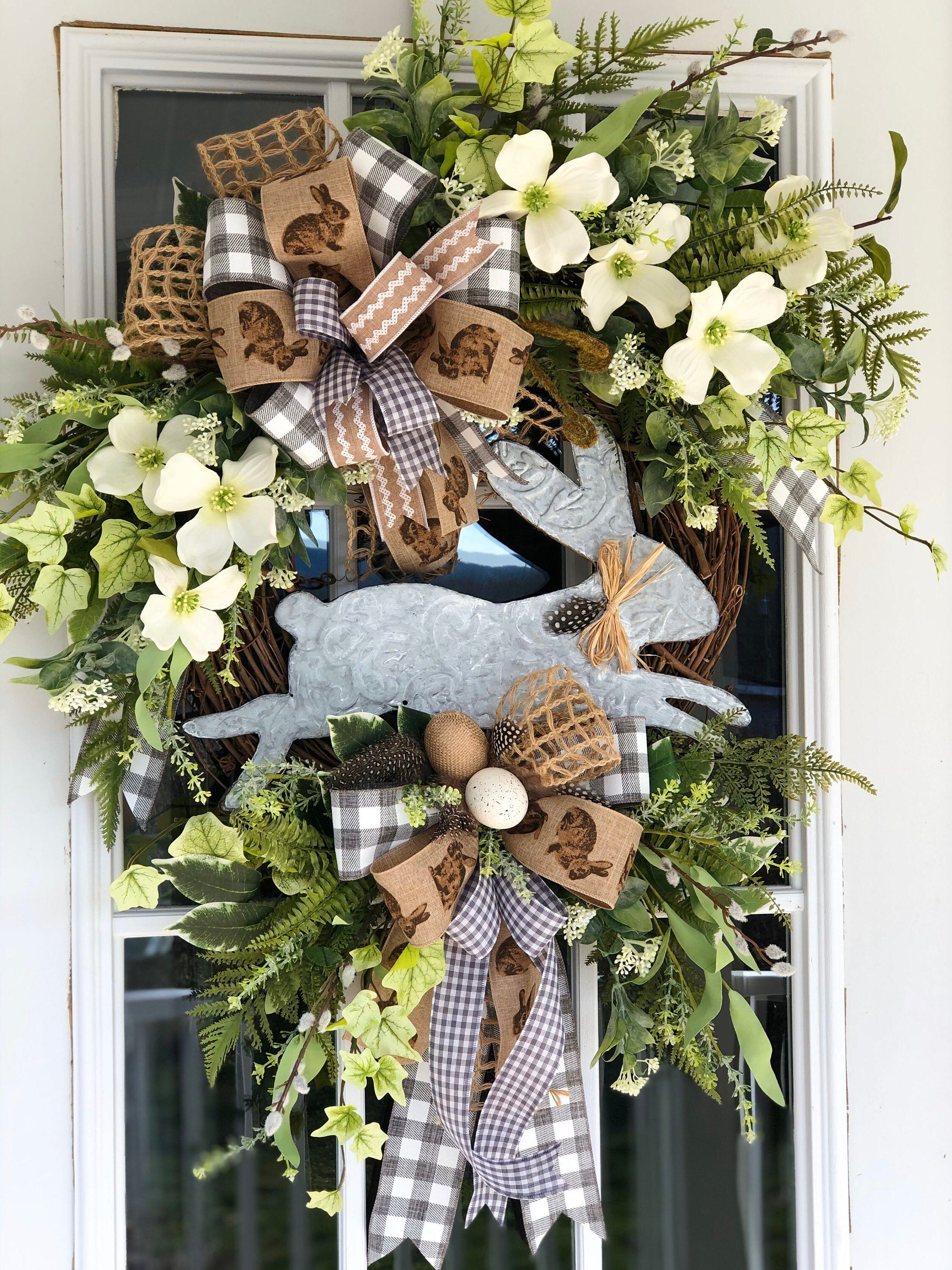 Photo of French Country Spring Wreath, Leaping Bunny Wreath, Farmhouse Spring Wreath, Easter Wreath, French Country Bunny Wreath, Front Door Wreath