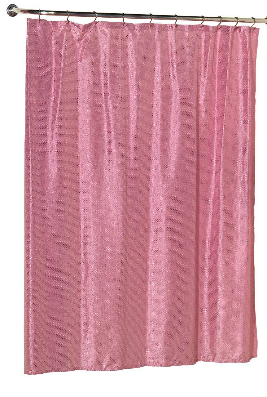 Diamond Dobby Fabric Shower Curtain In Rose Pink Fabric Shower