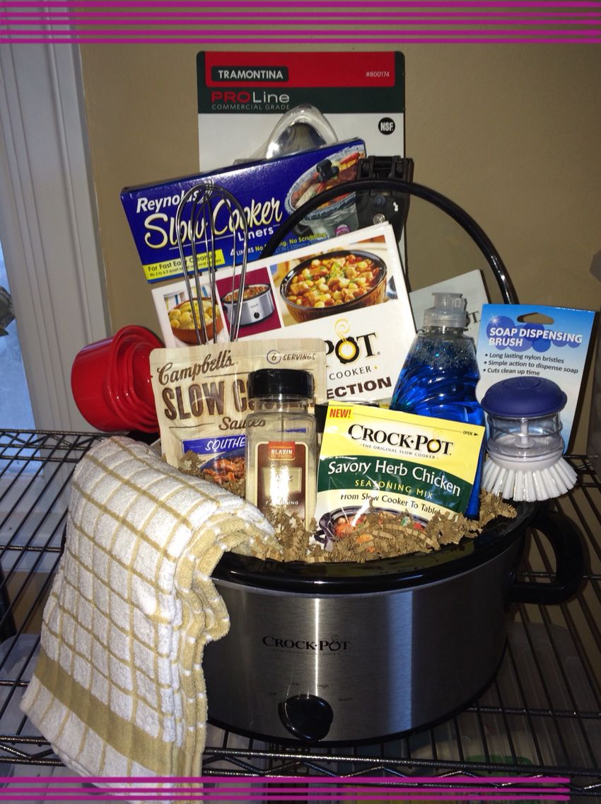 Sherry Briggs crockpot gift basket - amazing! | Housewarming | Diy on food ideas for fundraisers, basket fundraising ideas, themed baskets for fundraisers, basket raffle flyer, gift baskets for fundraisers, best raffle baskets for fundraisers, basket raffle fundraiser themes,