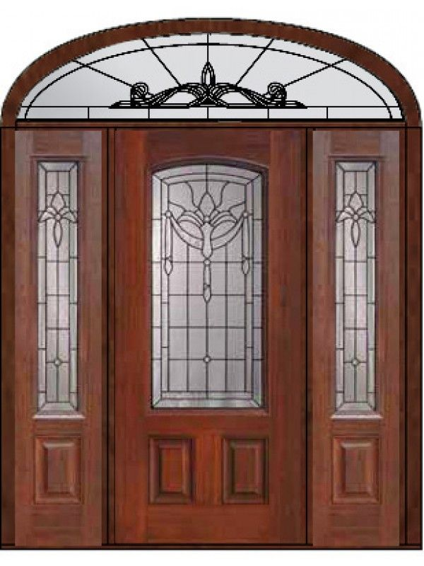 Exterior Door with Two Sidelites and Elliptical Transom Prehung Sidelights-Transom Door 80 Fiberglass Palacio & Exterior Door with Two Sidelites and Elliptical Transom Prehung ... pezcame.com