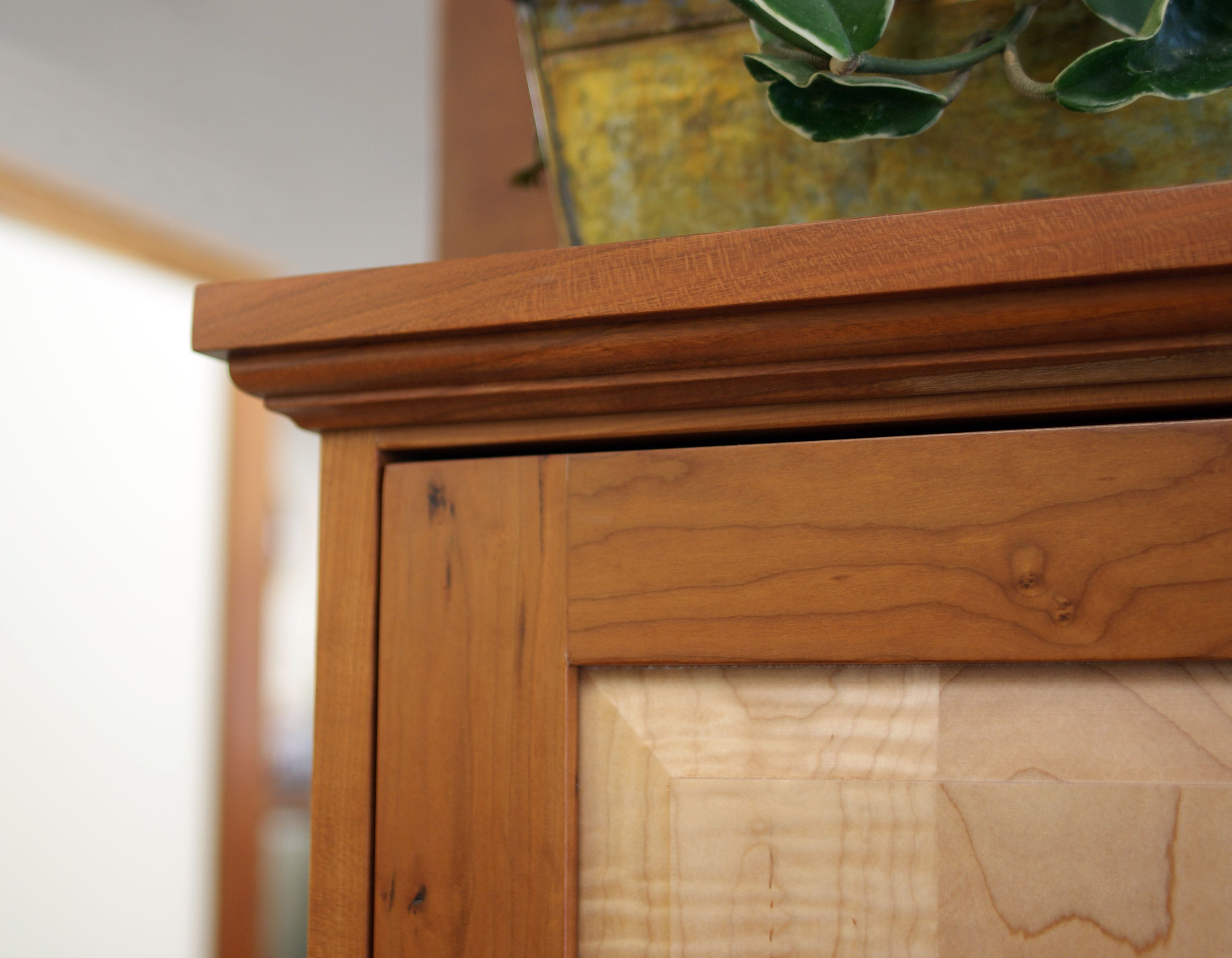 Timeless Molding Top On This Cabinet. A Curly Maple Raised Panel Is Fitted  A With