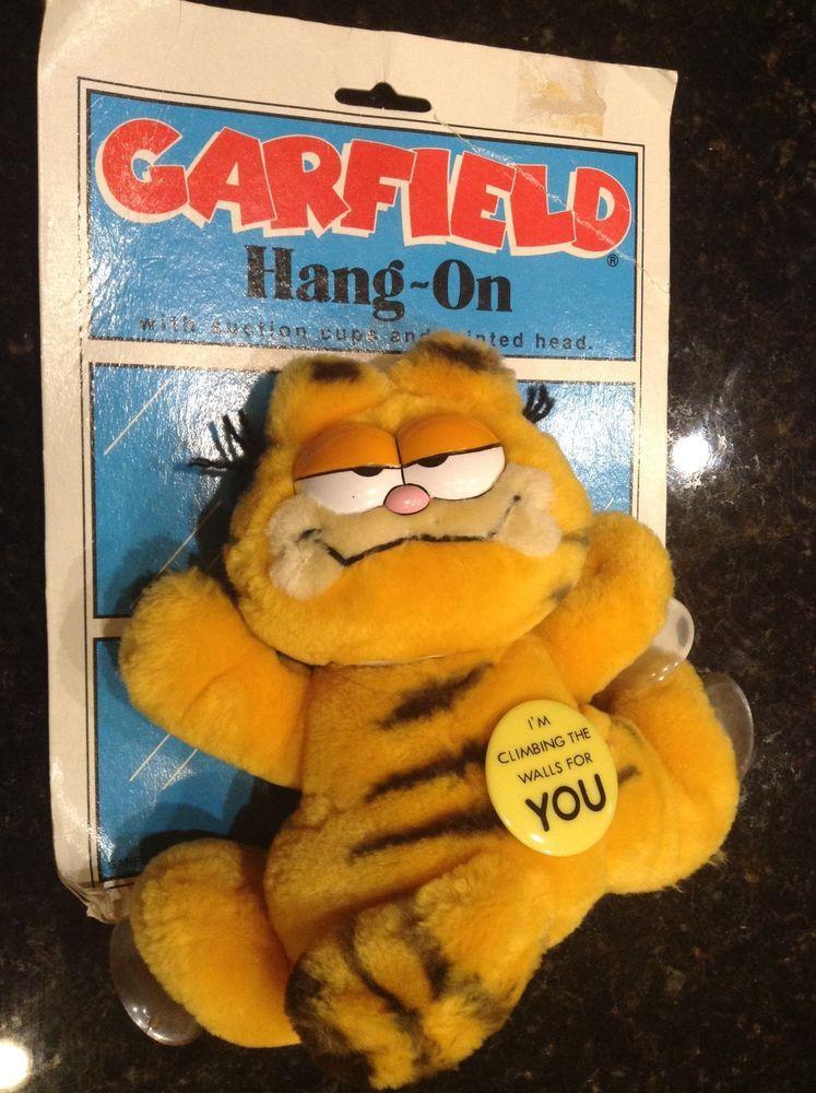GARFIELD  Head  PLUSH  RARE CAR WINDOW CLING SUCTION CUP NWT