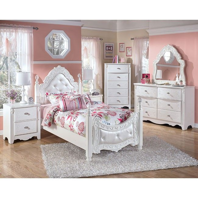 Exquisite White Poster Bed Set With Upholstered Head And