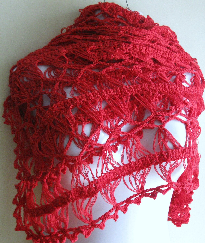 Red crochet Hairpin lace shawl on Etsy. Very nice! | Crochê de ...
