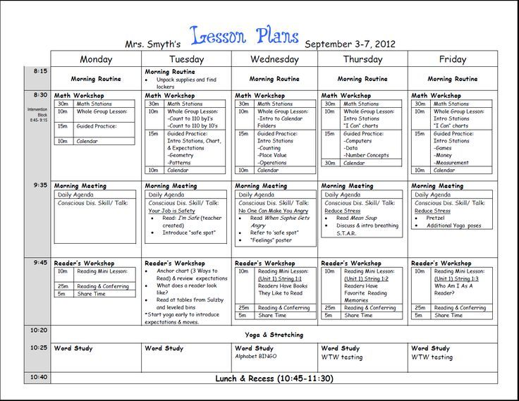 First Week Lesson Plans First Grade New Year Pinterest - Monthly lesson plan template free