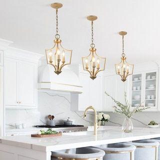 Modern Glam Gold 3-light Chandelier Geometric Pendant Lights for Kitchen Island