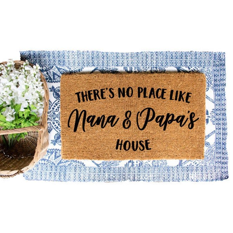 Nana and Papa's House, No Place Like Doormat, Gift for Grandparents, Door Mat, Custom Doormat, Personalized Doormat, Custom Mat