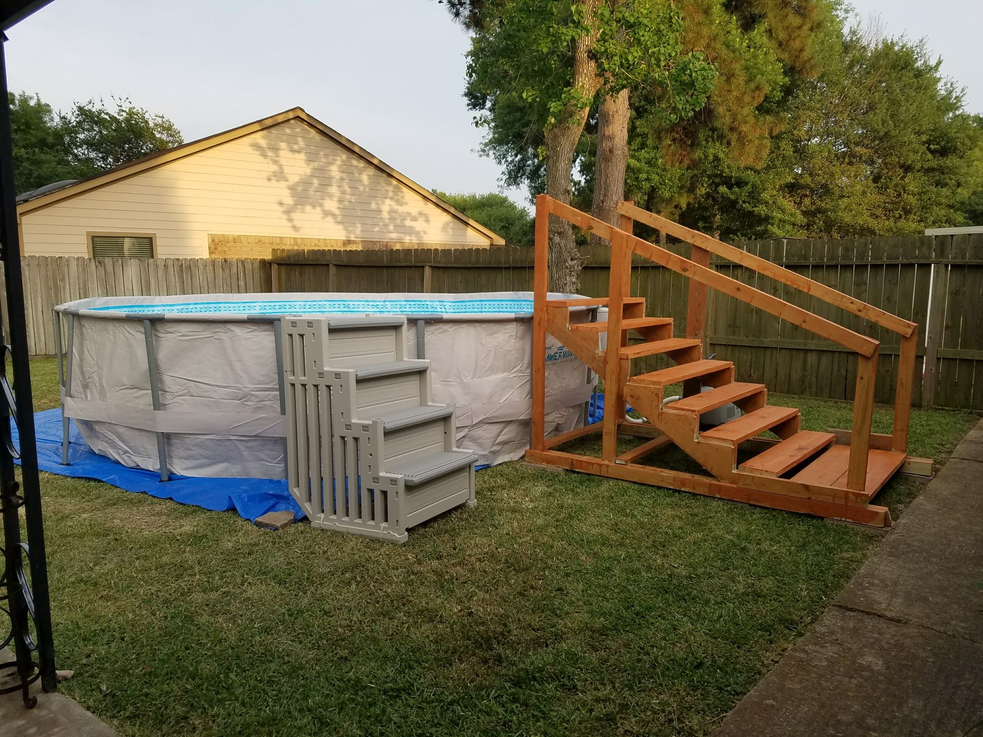 Diy Pool Stairs For Above Ground Pool Wood Pool Deck Above Ground Pool Above Ground Pool Landscaping