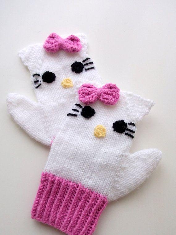 Knitting Kitty Mitten-Knitting Kitty gloves-for girl Baby or Toddler ...