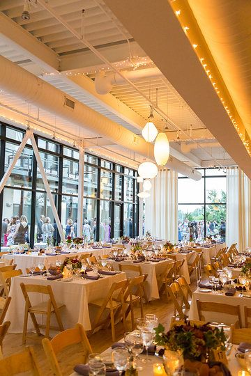 Summer Wedding Centerpieces On Square Tables At Greenhouse Loft In Chicago