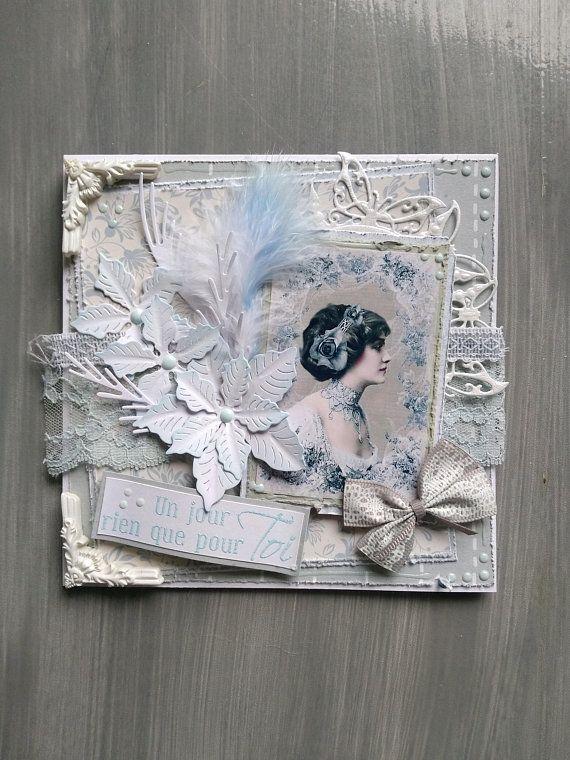 Carte Anniversaire Femme Faite Main 3d Shabby Chic Theme Beaute