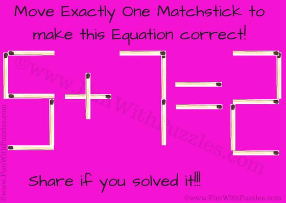 Matchstick Math Brain Teaser For Kids With Answer Brain Teasers For Kids Brain Teasers Math Riddles