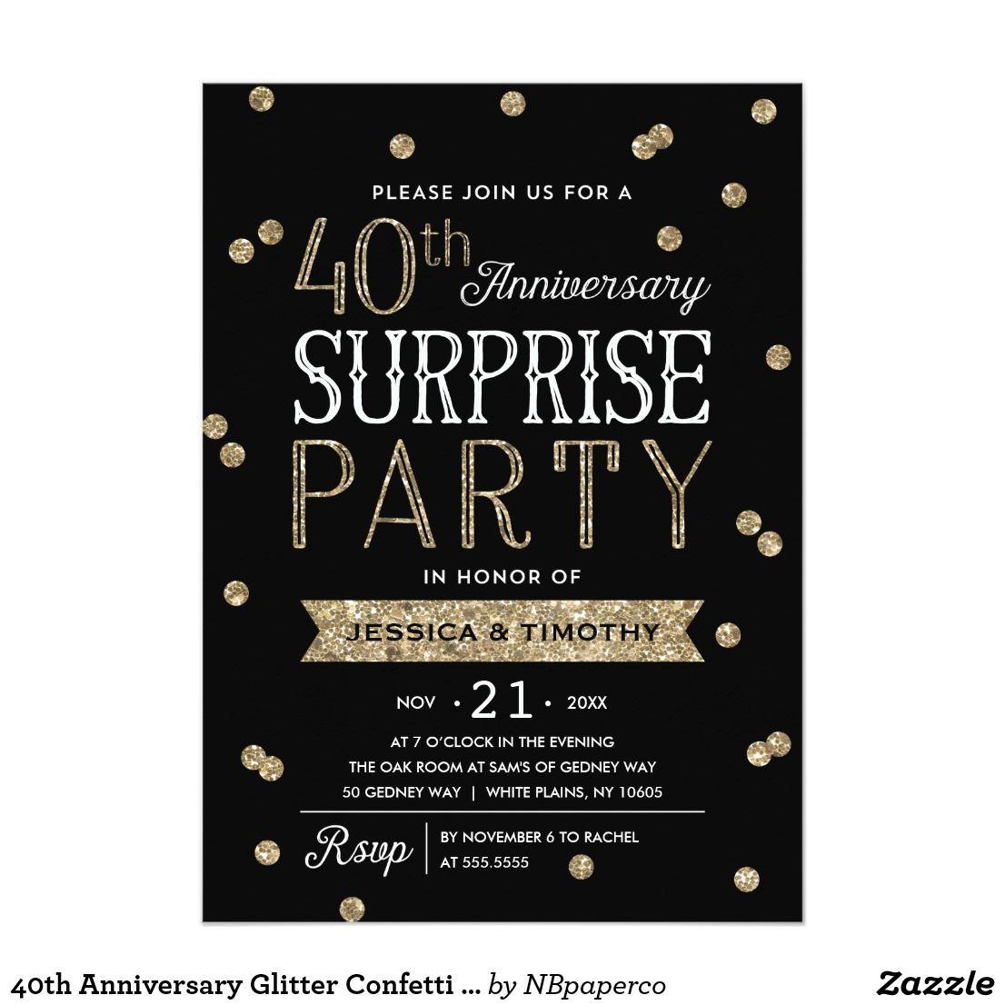 40th Anniversary Glitter Confetti Surprise Party Card Glitter Confetti