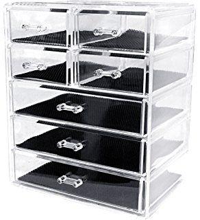 Sodynee Cosmetics Makeup and Jewelry Storage Organizer Case Display