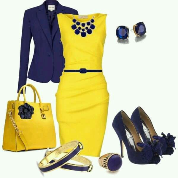Navy blue dress with yellow shoes