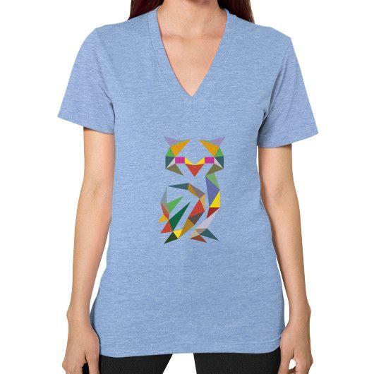 Geometric Owl V-Neck (on woman) Shirt