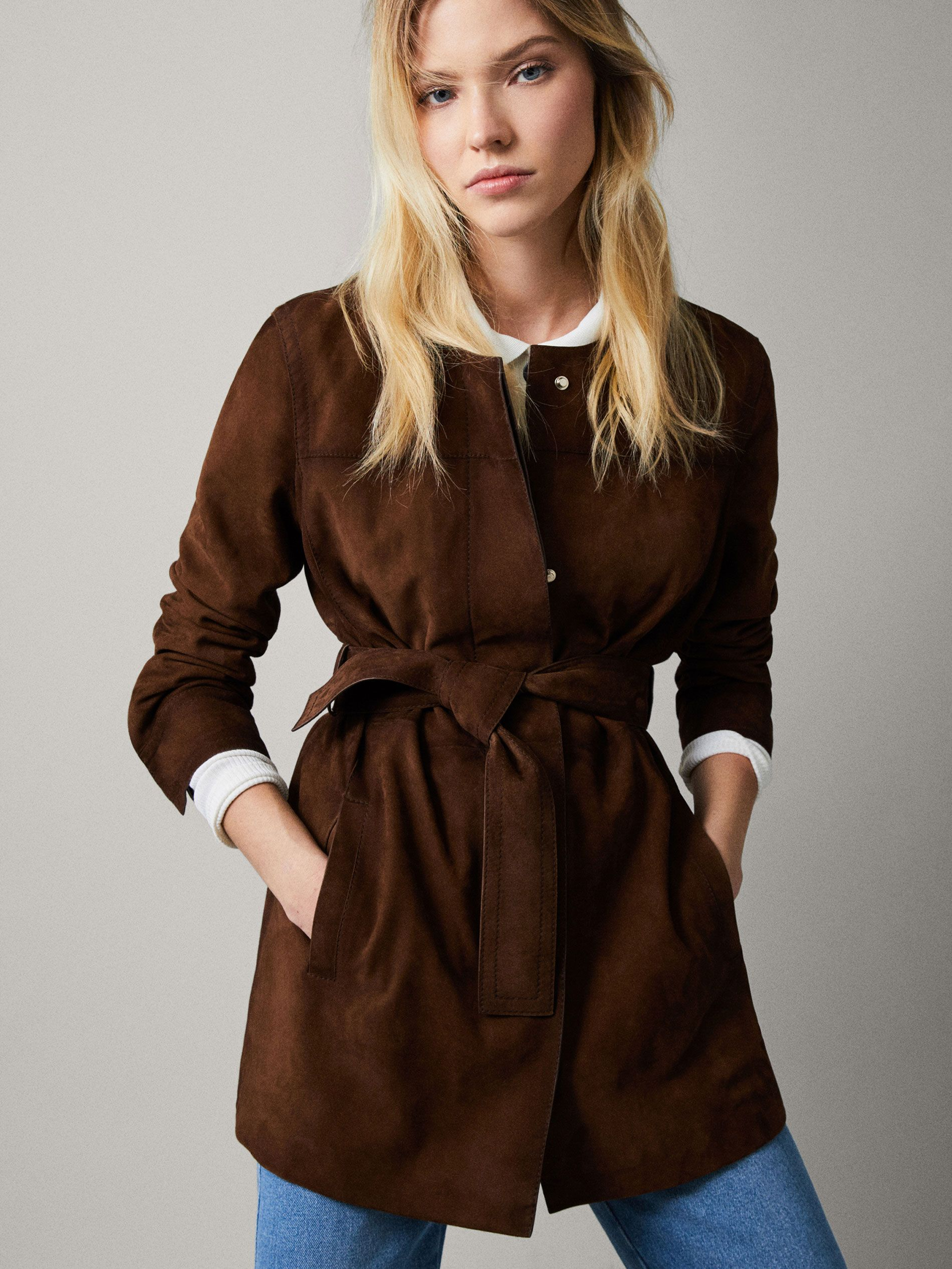 Suede Jacket With Belt Women Massimo Dutti