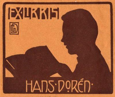 Ex libris Hans Dorén by Gustav Nils Dorén (1857-1920) - c. 1900
