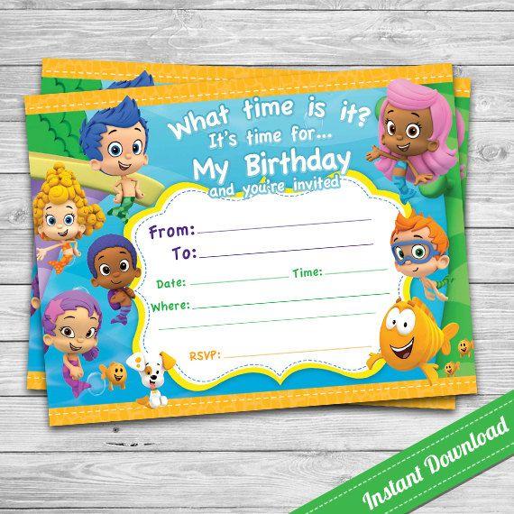 Bubble Guppies Invitation Printable Blank Invitation Instant Download Guppies P Bubble Guppies Birthday Party Bubble Guppies Invitations Bubble Guppies