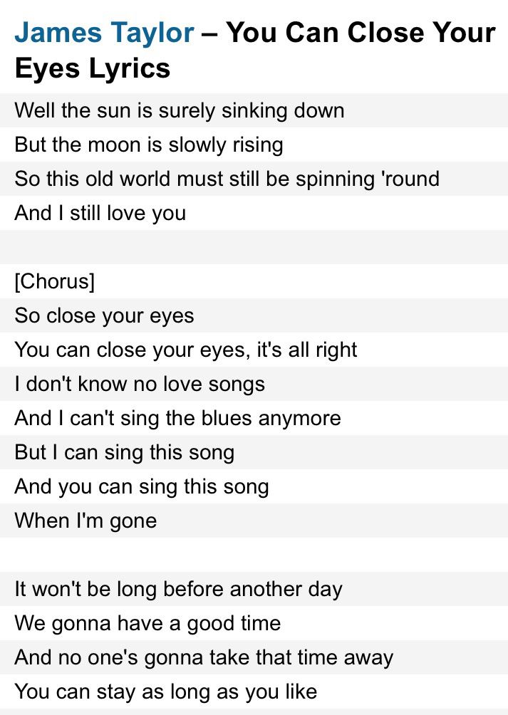 You can close your eyes james taylor style lyrics pinterest you can close your eyes james taylor stopboris Images