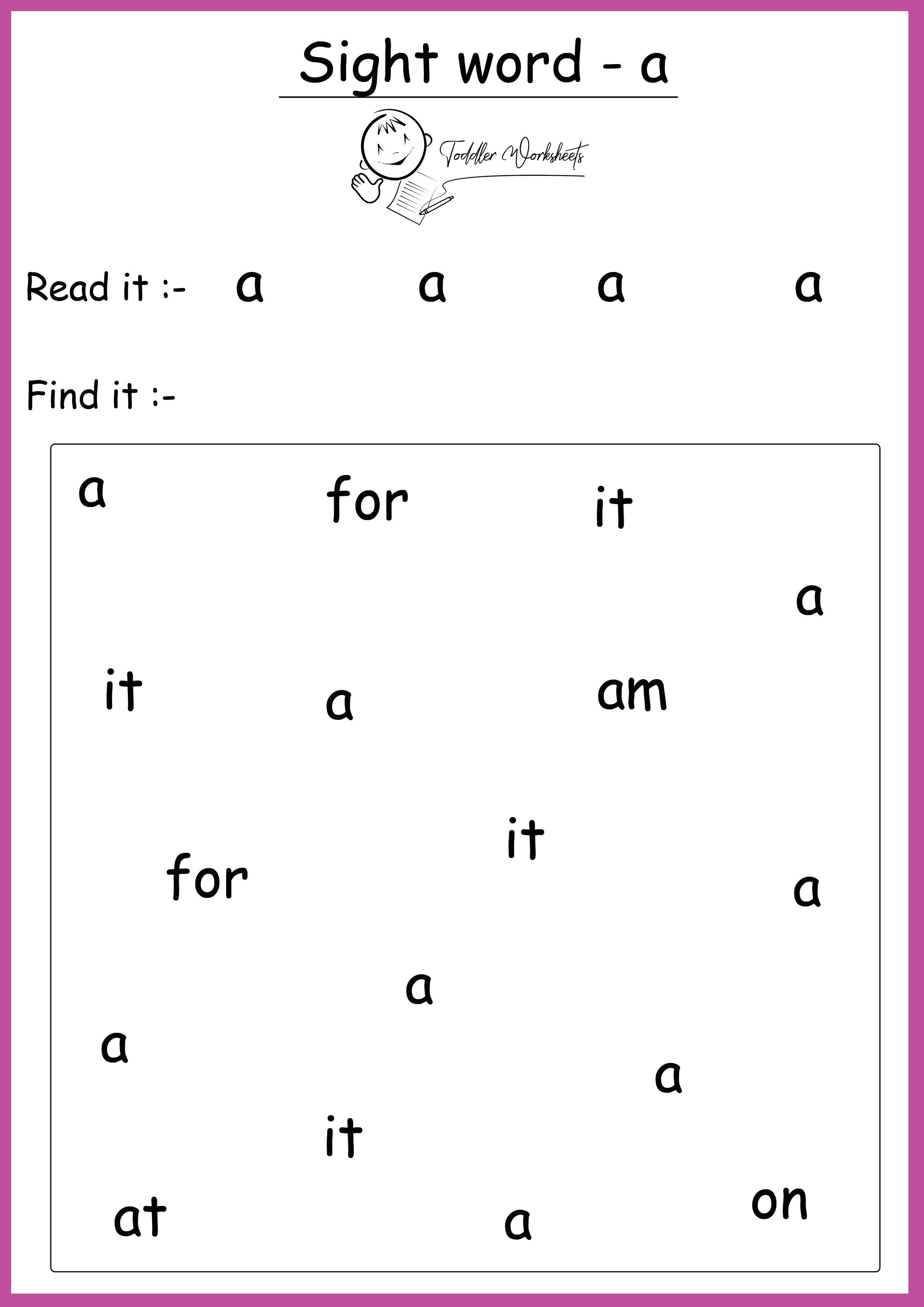 Free Preschool Site Words Worksheets