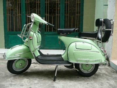 #ridecolorfully in a green #vespa