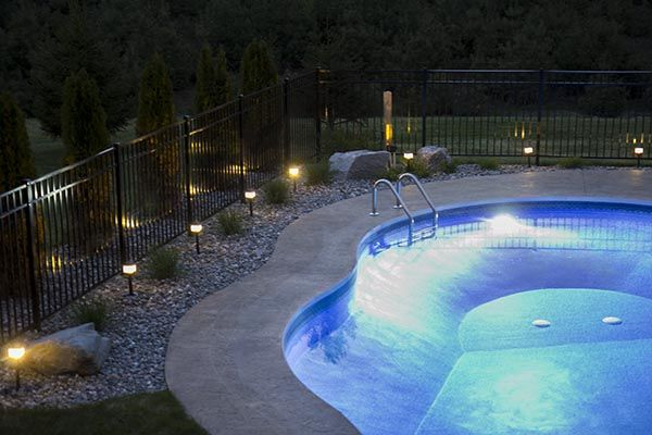 inground pool with low voltage landscape lighting swimming pool