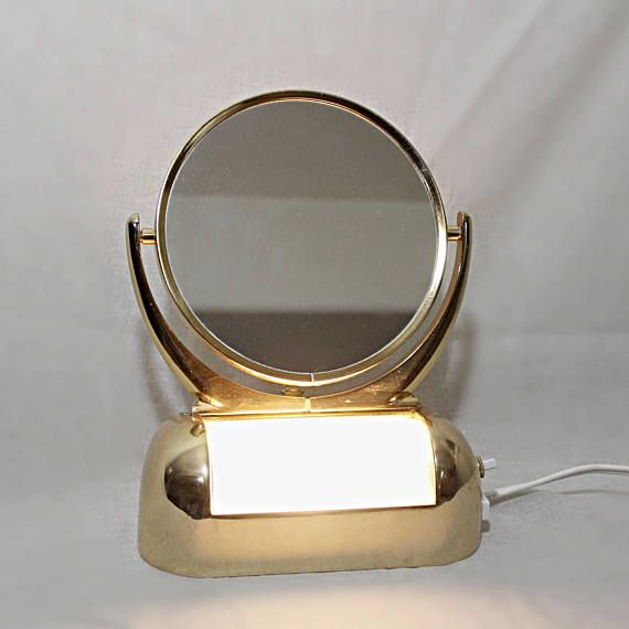 Vintage Lighted Vanity Mirror  Two Sided Makeup Mirror