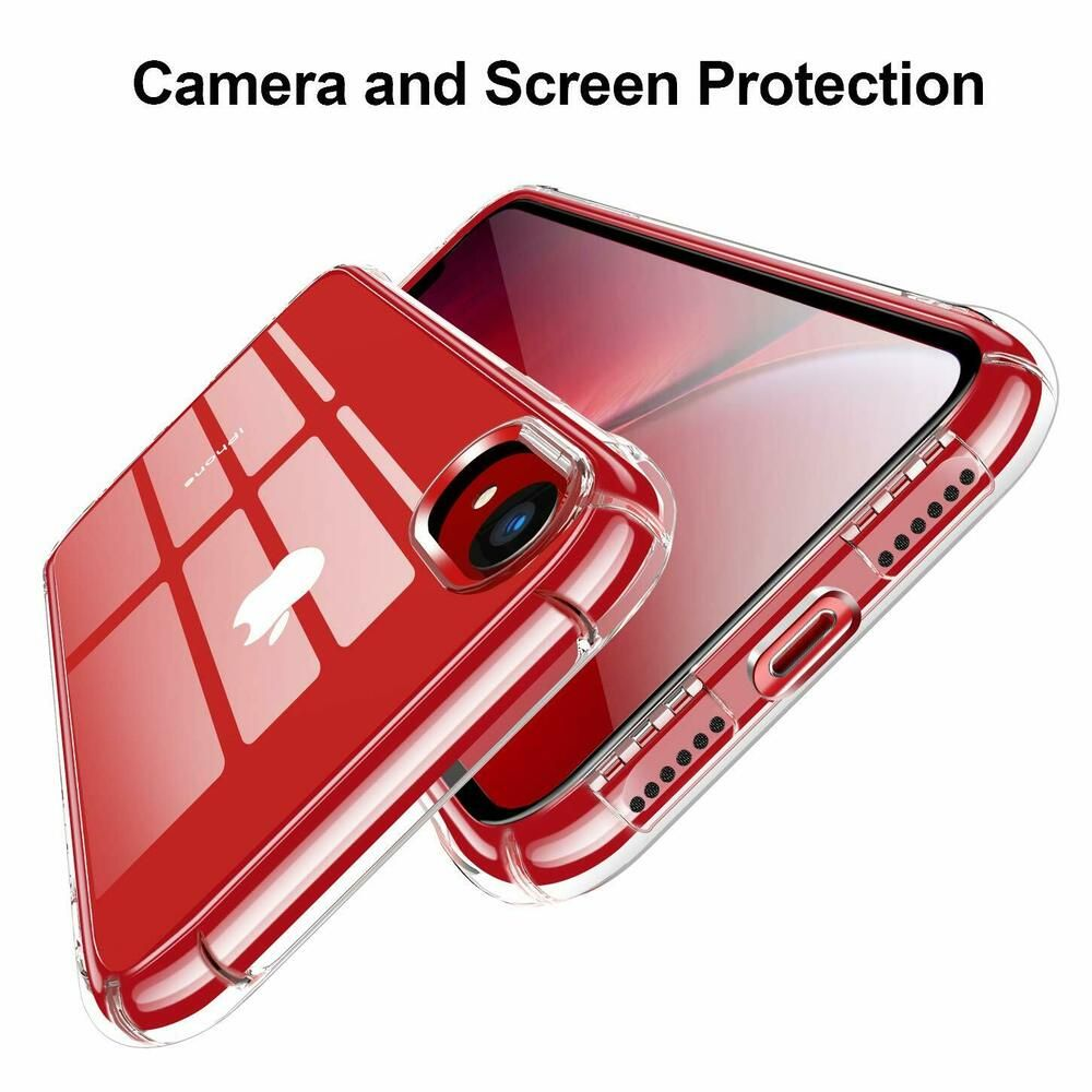 For iphone xr case crystal clear heavy military cover tpu