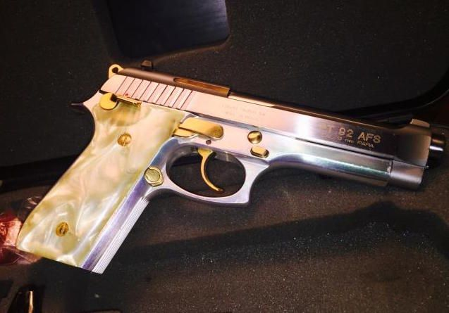 Taurus PT92 AFS LNIB 9mm  Factory gold accents, pearl grips in
