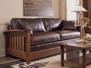 Stickley Sleeper Sofa Arts Crafts Craftsman Mission Leather Settle