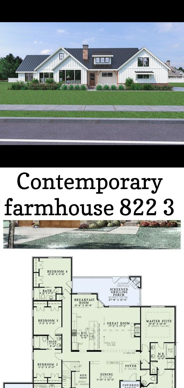 Contemporary farmhouse 822 3 Contemporary Farmhouse 822 French Country House Plan 82236   Total living area: 2413 sq ft, 4 bedrooms & 3.5 bathrooms. This charming European plan features brick, stone and shake siding exterior with arched doors and windows and a 3-car garage. by jac.5070 House Plans Image
