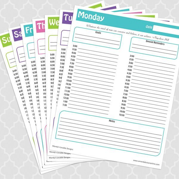 free daily schedule printable