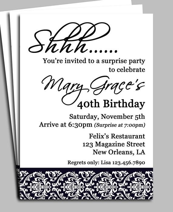 Black Damask Surprise Party Invitation Printable Or Printed Etsy In 2021 Surprise Birthday Party Invitations 40th Birthday Party Invites 50th Birthday Party Invitations
