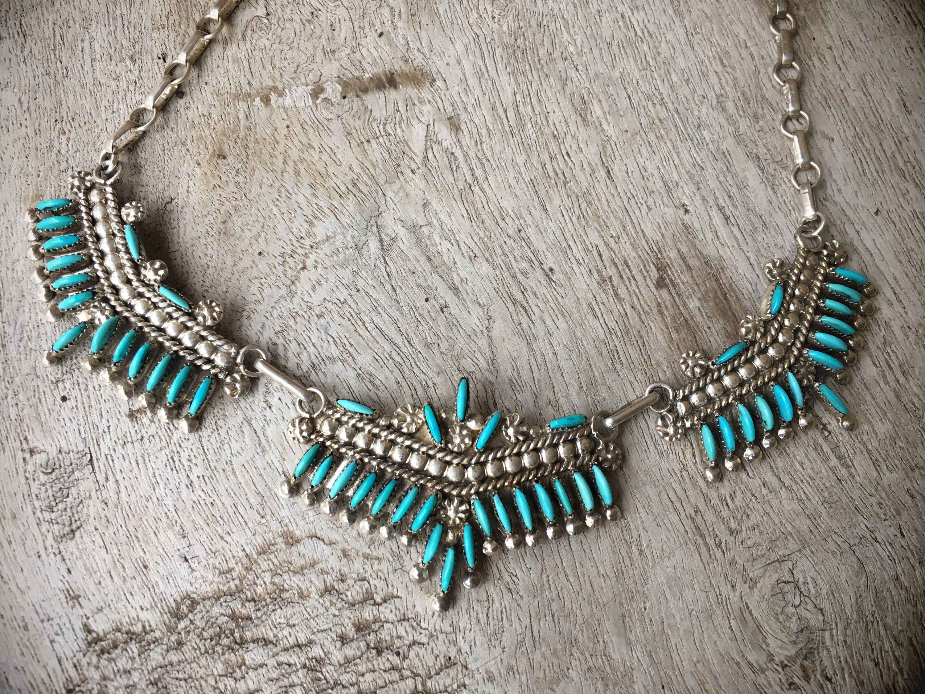 zuni silver style needlepoint turquoise collar pin necklace pendant and