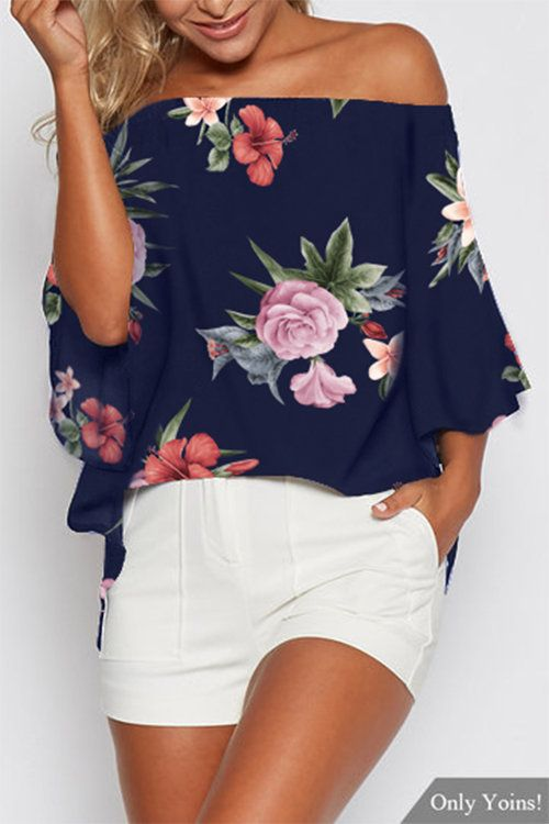 846c0fa486ead Floral off-shoulder top Costura